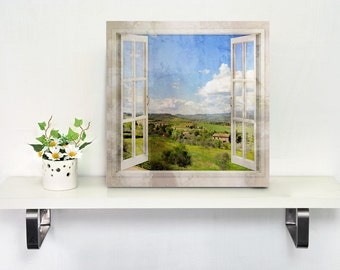 Window view of a Tuscany Landscape art printed on canvas - Travel photography art - Housewarming gift - Home decor
