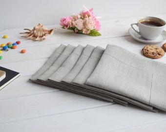 Linen napkins set of 6, hemstitch napkins, cafe napkins, table cloth napkin, tea napkins, dinner napkins, cloth napkin, wedding napkins