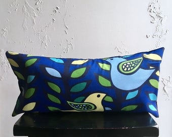 Retro Blue Pillow Cover, 12x24 Spring Bird Throw Pillow, Decorative Pillow Cover, Cobalt Lumbar Pillow, Two Birds in a tree, Colorful Leaves