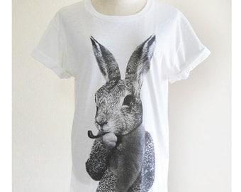 Bunny Rabbit Smart Cigar rabbit shirt hipster tumblr shirt cute shirt hipster shirt blogger shirt quote tee unisex shirt screen print size M