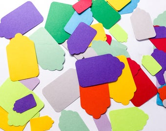 SALE ! Small Tags - merchandise tags - price tags - gift tags - colorful - rainbow - tiny tags - medium tags - Scrapbooking - card making