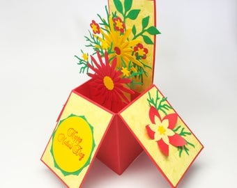 Handmade pop up box card - Mother's Day card - red and yellow flowers - bright - beautiful - hand stamped by Wcards