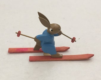 Handmade Wood Miniature Easter  Bunny Rabbit on Skis Collectible Wood Easter Figurine 2""