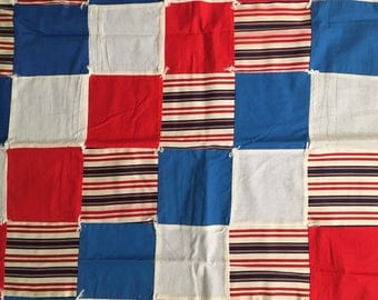 """Handcrafted Baby Quilt Red White Blue Fourth of July Wall Decor 36"""" x 42"""""""