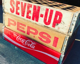 3 Vintage Pepsi Coca Cola 7up Soda Crates with 24 dividers