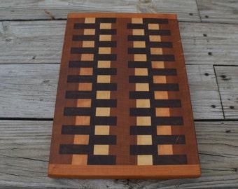 End grain cutting board walnut Maple and Cherry wood