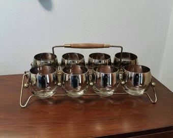 Eight Silver Ombre Roly Poly Glasses with Caddy