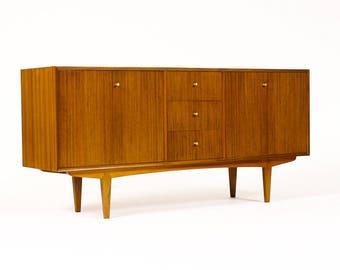 Danish Modern / Mid Century Mahogany Credenza / Sideboard — Double Bi-Fold Doors — Brass Pulls