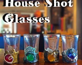 Harry Potter shot glasses House Pride shot glasses set gryffindor slytherin ravenclaw hufflepuff
