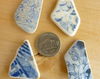 SEA POTTERY Shards 4 Blue and White Pendant Shaped Beach Antique Scottish