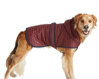 Quilted Nylon Puffer Jacket with Shearling Lining - Brick Red, Pet Apparel, Dog Jacket