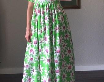 90s Retro GROOVE is in the Heart Pop Art Flower Print Baby Doll Midi Dress Clown Core Funky 90s Dress