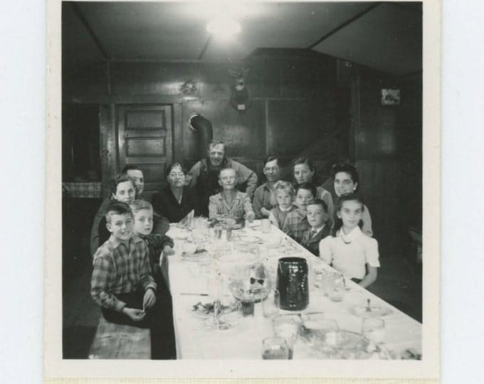 Family at Dinner Table: Vintage Snapshot Mini-Photo, c1940s (71536)