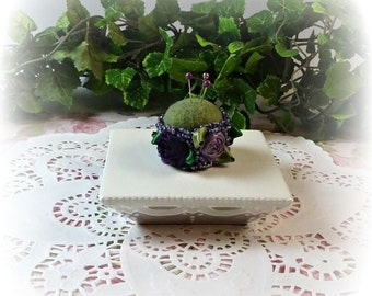 Petite Violet and Roses Pin Cushions