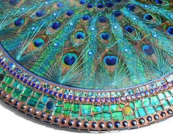 Sold - LARGE Peacock feather fan inlay, STRING ART & Paua shell, mosaic table, mosaic art -Sold