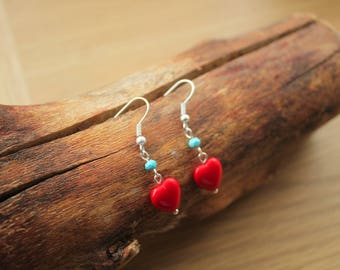 Little Red Heart and Turquoise Earrings
