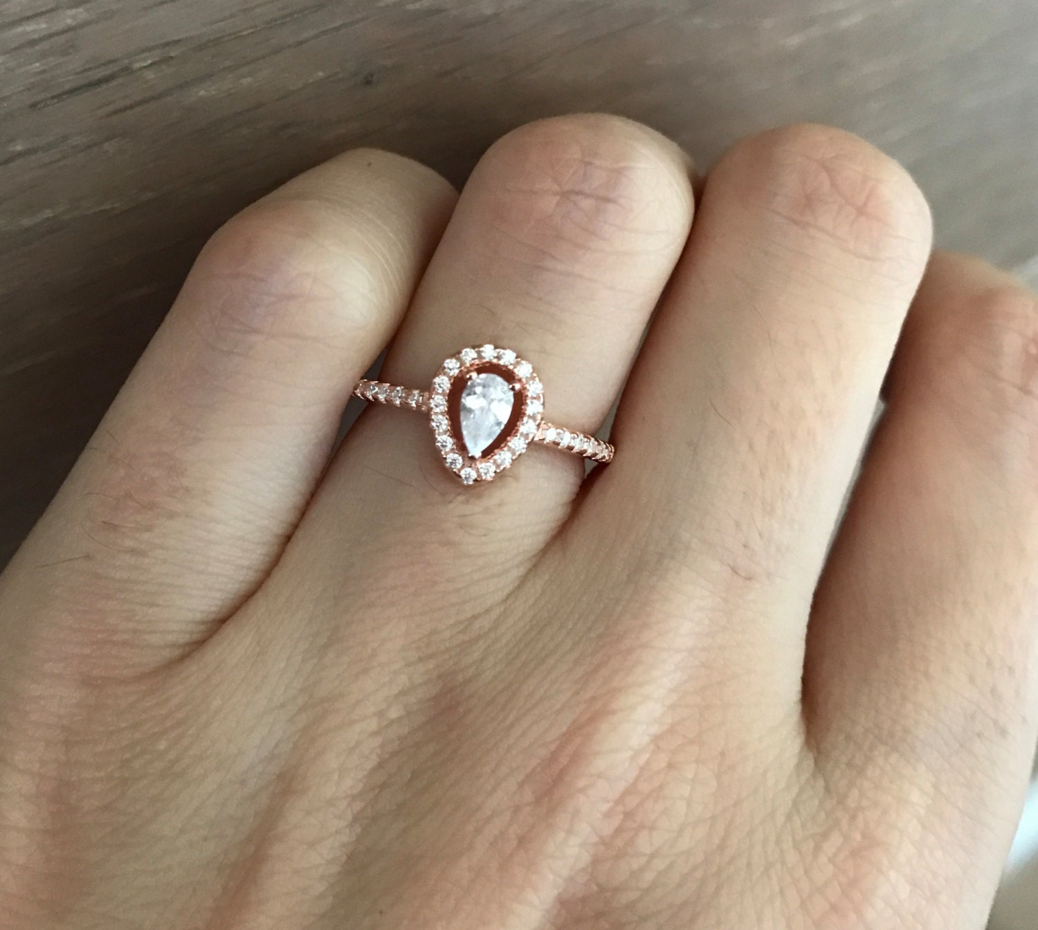 Small Rose Gold Promise Ring Pear Shape Engagement Ring Halo