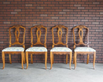 Splatback Dining Chairs / French Dining Chairs / Country French Dining Chairs by Ethan Allen - Set of 4 Chairs