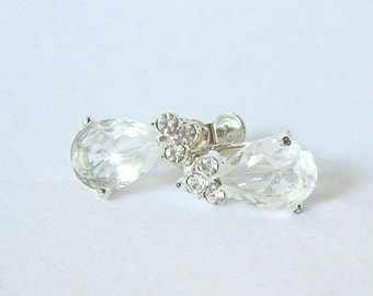 Vintage Crystal Clear Diamond Glass Earrings Silver Tone