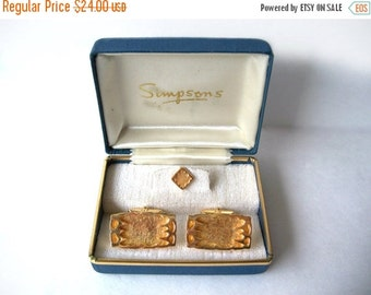 Cuff Links Tie Tack Modern Abstract Textured in Simpsons presentation box Gold Tone