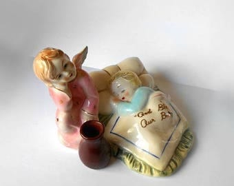 ON SALE Vintage Figurine God Bless our Baby Angel and Child Made in Japan