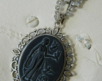 SALE 15% coupon code MARCH15 Goddess Cameo on Upcycled Vintage Rhinestone Necklace by 58diamond