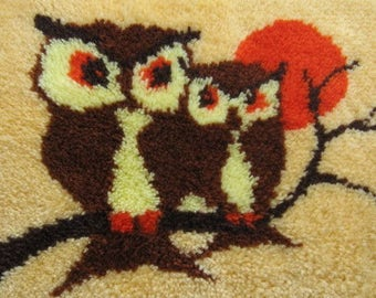Vintage Latch Hook Owls Wall Hanging, Rug, Orange, Brown, Yellow, Funky 70's Owls