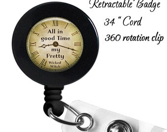 Badge Reel - Wizard of Oz - All in Good Time - ID - Retractable Office Badge - Lanyard - 32MM - Nurse Doctor Teacher ID Holder - Company