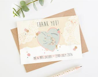 Wedding Thank You Card - Floral Map