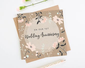 Wife 1st Anniversary Card Kraft Pink Floral