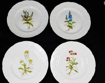 Dansk Embossed Porcelain Luncheon Plates, Set of 4 Assorted Foral Design,  Ivy Rim, Original Box, Made in France.