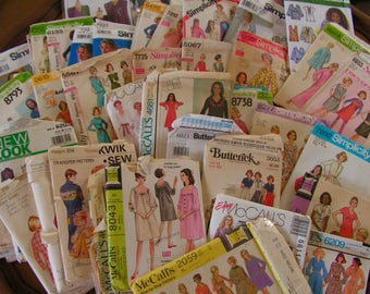 Sewing Pattern Lot of 50 Misses sewing patterns vintage and newer various sizes (Note this listing will not be renewed)