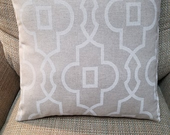 Beige and White Lattice Mod Print Cotton Pillow Cover - Various Sizes