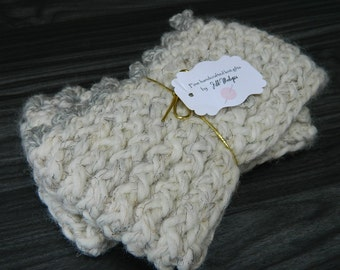 THICK Natural and Grey Color Knit Boot Cuffs; Crochet; Warm Winter Boot Accessory handmade handcrafted made by hand Gloves Boots Leg warmers