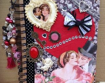 Romantic Valentine's Love Altered Notebook with Bead Clustered Dangle Charm