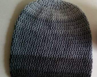 Grey Gray Ombre Slouch - Crochet Slouchy Beanie - Womens Slouchy Hat - Hipster Hat