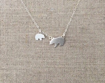 Mama Bear and Cub Necklace - Sterling Silver - Baby Bear and Mother