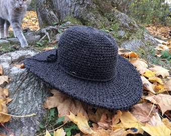 Fall Hat | Wide Brim Hat | Charcoal felt Hat | Womens Hat | Boho brim hat | Fall and Winter Hats for Women |Gift for her | Black Friday Sale