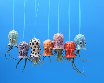 Mini Octopus Hanging Air Planter, Graduation, Whimsical Gift from the Sea, Octopus Garden