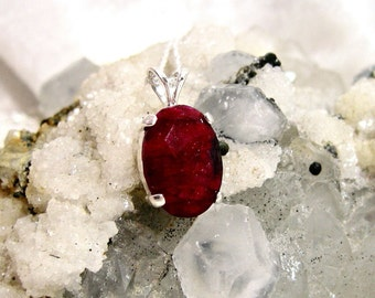 14x10 Genuine Ruby Pendant 14x10 set in Solid 925 Sterling Silver