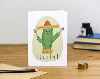 Mexican Fiesta Cactus Children's Cute Colourful Birthday Card 1st 2nd 3rd 4th 5th 6th sombrero maracas