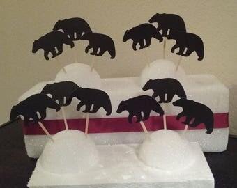 Black Bear Cupcake Toppers - Lumberjack Bear Cupcake Toppers -