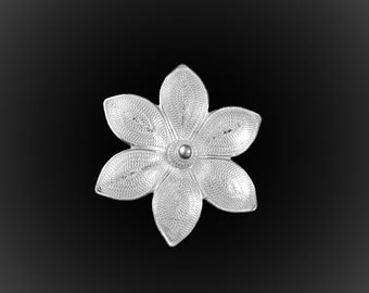 Brooch embroidered Silver Lotus pendant