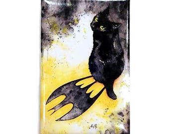 Bat Cat Magnet: Watercolour Black Cat Batman