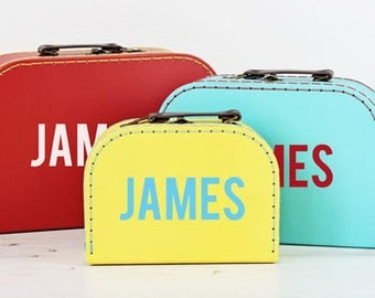 Personalised Retro Suitcase Storage Box Trio - Display Decor Craft Decoration Prop P108