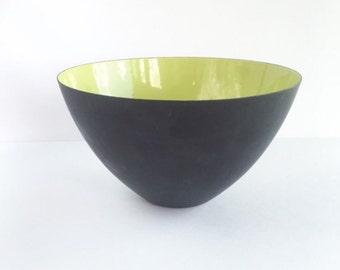 Mid Century Krenit Bowl Denmark Herbert Krenchel Lime Green Matte Black Danish Midern Kitchen Decor
