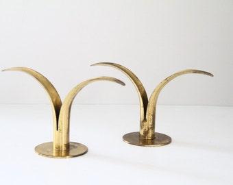 Vintage Brass Ystad-Metall Sweden Lily Candleholders Candlesticks Ivar Alenius Bjork Design