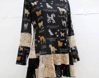 Lace Trimmed Tunic - Recycled T-Shirts - Gift for Dog Lovers - Upcycled Clothing - Eco Friendly - Dog Breeds - Handmade Gift - Ladies Top