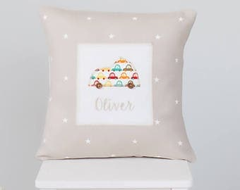 New Baby Boy Gift, Personalised Cushion, Personalized Pillow, Keepsake Gift, Embroidered Cushion