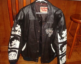 Vintage 1994 Genuine Black And White Leather Montana Toons by Excelled Betty Boop Jacket Ladies Size XL